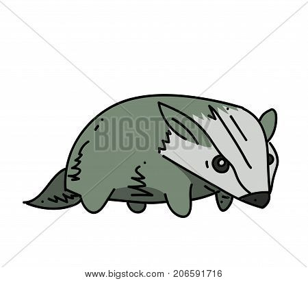 Badger cartoon hand drawn image. Original colorful artwork, comic childish style drawing.
