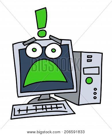 Frightened computer cartoon hand drawn image. Original colorful artwork, comic childish style drawing.