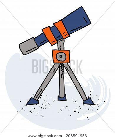 Telescope cartoon hand drawn image. Original colorful artwork, comic childish style drawing.