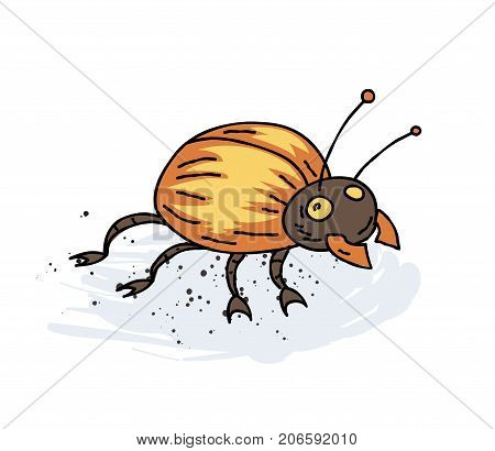 Giant bug cartoon hand drawn image. Original colorful artwork, comic childish style drawing.