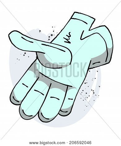 Glove cartoon hand drawn image. Original colorful artwork, comic childish style drawing.