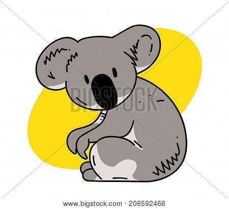 Koala cartoon hand drawn image. Original colorful artwork, comic childish style drawing.