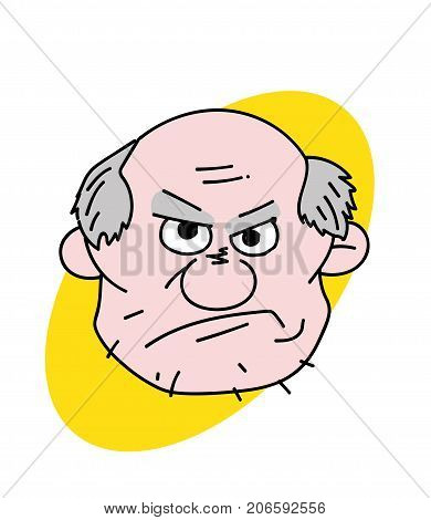 Evil old man face cartoon hand drawn image. Original colorful artwork, comic childish style drawing.