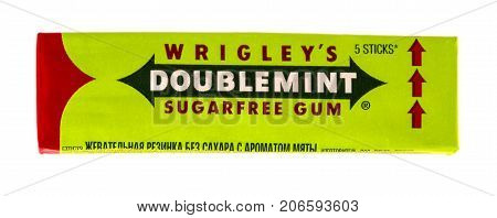 Russia Kamchatka - SEPTEMBER 20 2017: Doublemint chewing gum made by Wrigley isolated on white with clipping path
