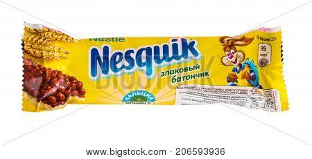 Russia Kamchatka - SEPTEMBER 20 2017: Nestle Nesquikchocolate bar isolated on white background. Nestle is a Swiss multinational food and beverage company.