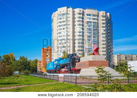 Novosibirsk Siberia Russia - September 17 2017: the Locomotive Lunin. The war memorial home front 1941-45 street Ivacheva 1A