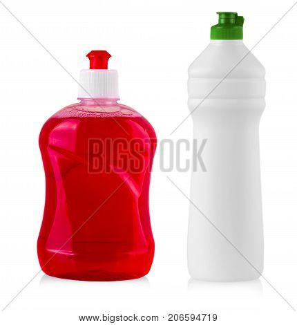 plastic bottles with liquid laundry detergent cleaning agent bleach or fabric softener
