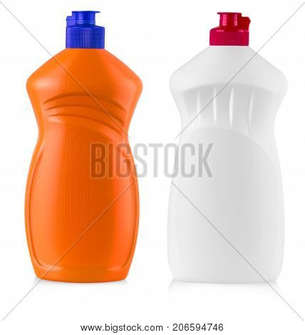 plastic bottles with liquid laundry detergent cleaning agent bleach or fabric softener isolated on white background