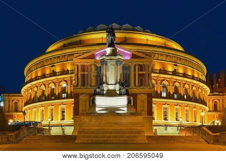 London Royal Albert Hall at the blue hour