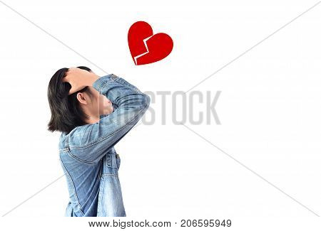 The person who loses the heart, holds the head with both hands and worry to love or not love, isolated white background, Heart broken concept, indeterminable concept