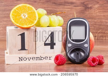 Date Of 14 November, Glucose Meter And Ripe Fruits, World Diabetes Day Concept