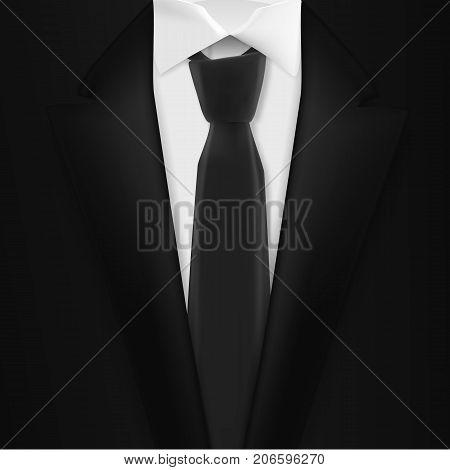 Illustration of Vector Realistic Black Suit. Photorealistic 3D Mens Elegant Tuxedo Suit with Neck Tie