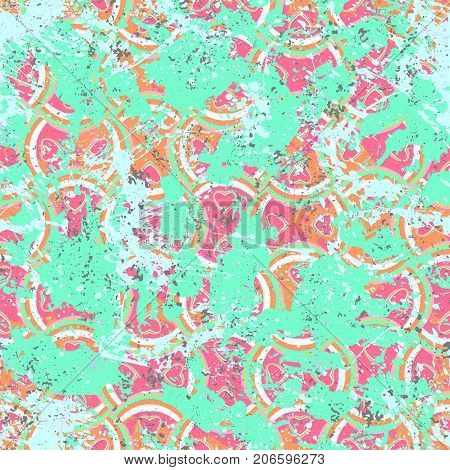 Vector geometric pattern in 1990s grunge style on bright watercolor splashes. Wavy stripes and hand drawn lines with splatters, shapes and brushstrokes. Bold vintage geometry print for sport fashion
