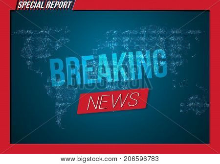 Illustration of Vector News Banner Template. Breaking News Design Layout on Bright Planet Background