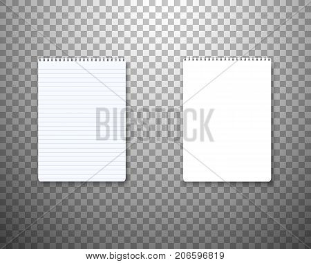 Illustration of Realistic Vector Blank TextBook Icon. Vector Notepad Template