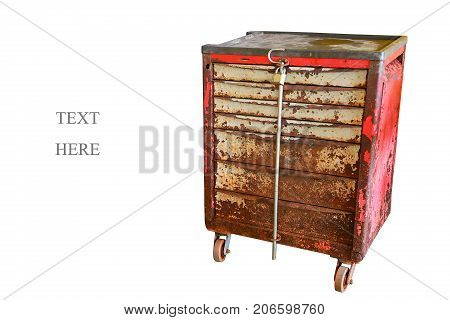Tool box for keep tool and special tool in the garage or industry workshop, damage old box and many rust on surface, industry equipment in workshop and standby for work.