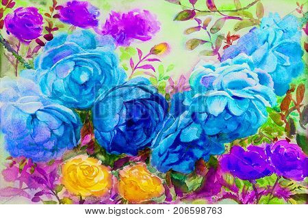 Painting art watercolor landscape original blue, yellow and purple colorful of the roses and emotion fantasy dream beauty in nature in sky background. Hand painted illustration.