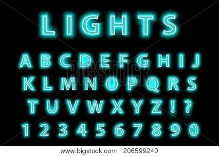 Modern trendy blue neon alphabet on a black background. LED glowing letters font. Luminescent number. Vector illustration