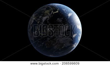 Asia Oceania and Australia are shone with lights on the night side of the Earth an isolated globe on a black background 3D render elements of this image are furnished by NASA
