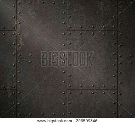 dark rusty armour background with rivets 3d illustration