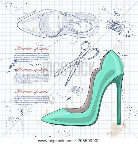 Vector sketch womens stiletto patent leather pumps on a notebook page