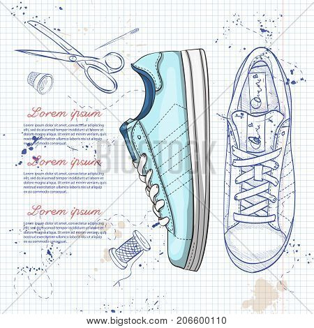Vector sketch and color womens casual sneakers on a notebook page