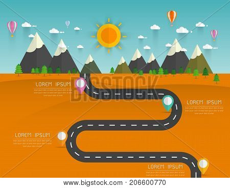 Road with markers vector infographics template. Winding road in green field and mountains. Rural street flat style .Landscape background Vector illustration