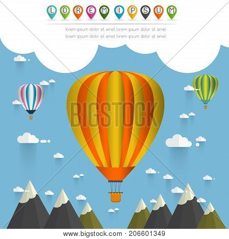 hot air balloon in the sky over moutain/ illustration / background/ greeting card vector illustration.