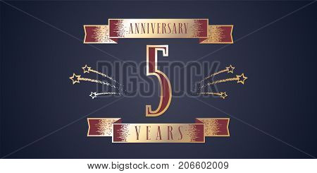 5 years anniversary celebration vector icon, logo. Template design element with golden number and swirl fireworks for 5th anniversary greeting card