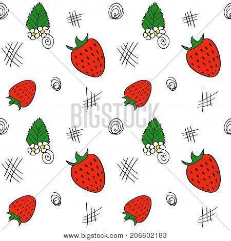 Hand drawn seamless pattern with red strawberries, leaves and flowers