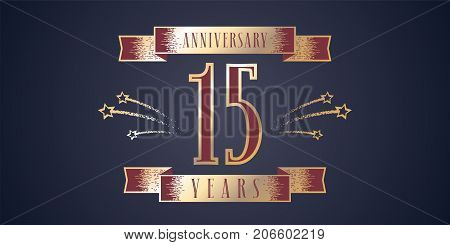 15 years anniversary celebration vector icon, logo. Template design element with golden number and swirl fireworks for 15th anniversary greeting card