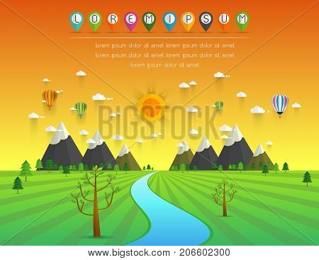a river flowing through mountains hills and through scenic green fields vector illustration.