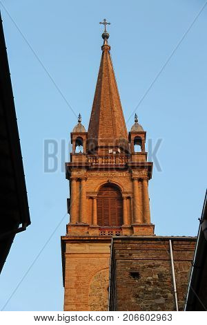 Church Tower in historic city center of Vignola Italy