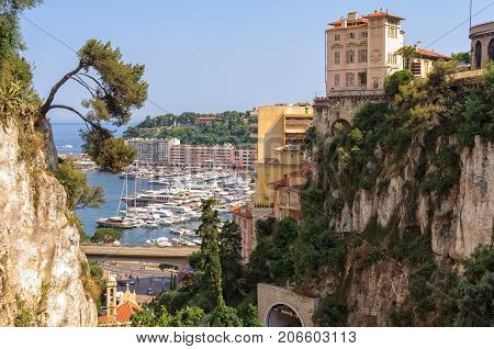View of Port Hercule from the Monaco - Monte-Carlo railway station