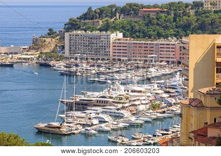 View of Port Hercule from the Monaco - Monte-Carlo railway station, 7 July 2013