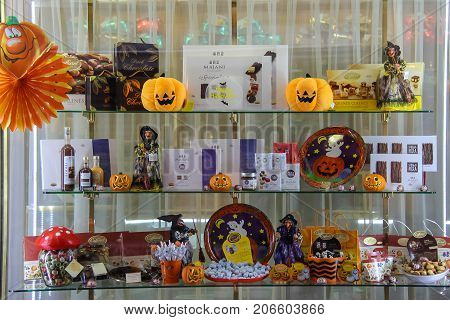 Vignola Italy - October 30 2016: Original shop window with sweets in style of Halloween. Emilia-Romagna Modena