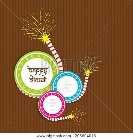 A beautiful greeting card with colorful cracker indian diwali festival celebration design