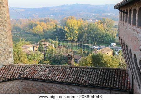 Vignola Italy - October 30 2016: Historic city center. Top view from fortress. Emilia-Romagna Modena