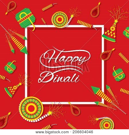 A beautiful greeting card with decorated with cracker of indian diwali festival celebration design