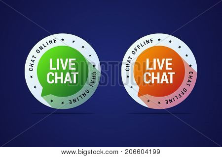 Live chat button for websites and application for user support and help. Online and offline variants of this button. Vector isolated illustration in modern gradient style.