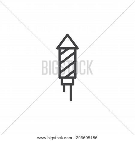 Fireworks line icon, outline vector sign, linear style pictogram isolated on white. Petard rocket symbol, logo illustration. Editable stroke