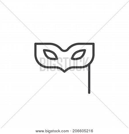 Eye mask line icon, outline vector sign, linear style pictogram isolated on white. Masquerade ball symbol, logo illustration. Editable stroke