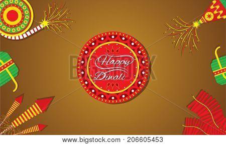 A beautiful greeting card with decorated cracker diwali festival celebration design