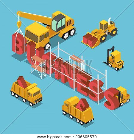 Isometric Construction Site Vehicles Buildding Business Word.
