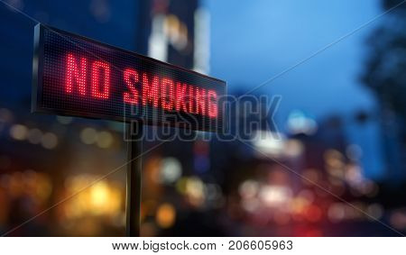 No Smoking Led Sign - 3D Rendering