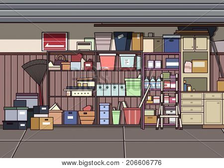 Clutter Garage. Video Game's Digital CG Artwork, Colorful Concept Illustration, Realistic Cartoon Style Background
