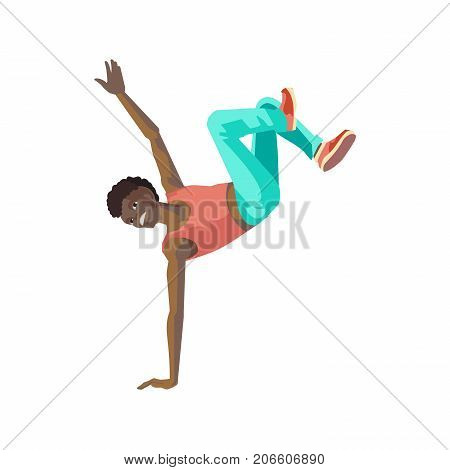 People dancing character in different poses concept. Young dancing guy, teenager, standing on to hand, dances in the style of break dance, under rhythmic music. Vector illustration in cartoon style.