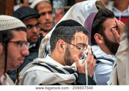 Prayer. Hasids pilgrims in traditional clothes. Uman Ukraine - September 21 2017: Rosh-ha-Shana festival Jewish New Year.