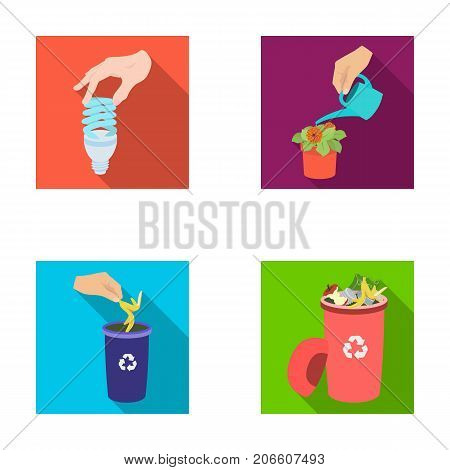 Energy-saving light bulb, watering a houseplant and other  icon in flat style. garbage can with waste and garbage icons in set collection.
