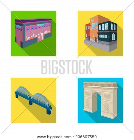 Arc de Triomphe in Paris, Reinforced bridge, cafe building, House in Scandinavian style. Architectural building set collection icons in flat style vector symbol stock illustration .